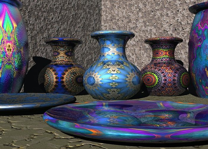3d Greeting Card featuring the digital art Marrakesh Open Air Market by Lyle Hatch