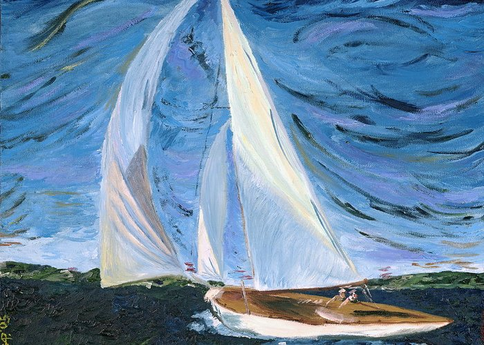 Sailboat Greeting Card featuring the painting Marriage by Gregory Allen Page