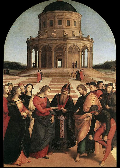Raphael Greeting Card featuring the painting Marriage Of The Virgin - 1504 by Raphael
