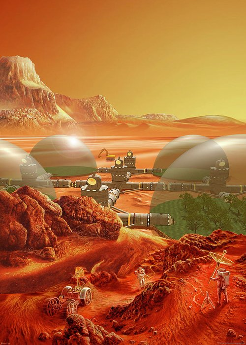 Mars Greeting Card featuring the painting Mars Colony by Don Dixon