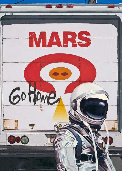 Astronaut Greeting Card featuring the painting Mars Go Home by Scott Listfield