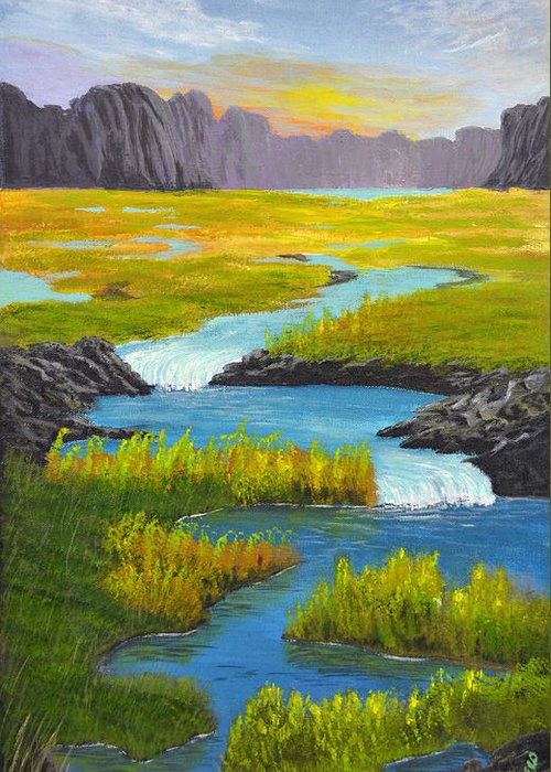 Original Paintings Greeting Card featuring the painting Marsh River Original Painting by Nathan Lucero