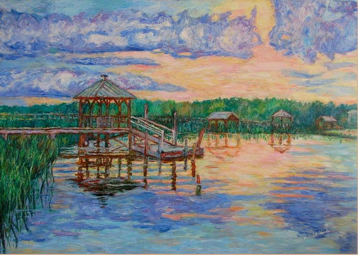 Landscape Greeting Card featuring the painting Marsh View At Pawleys Island by Kendall Kessler