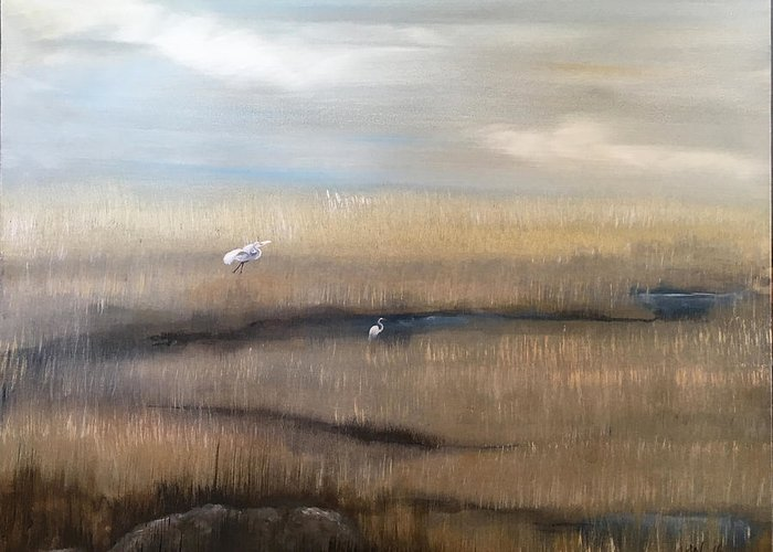 Marsh Greeting Card featuring the painting Marsh With Egrets by Holly Whiting