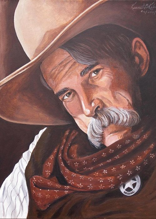 Cowboy Greeting Card featuring the painting Marshall Bill Speaks by Kenneth Kelsoe