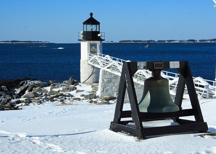 Seascape Greeting Card featuring the photograph Marshall Point Snow by Doug Mills