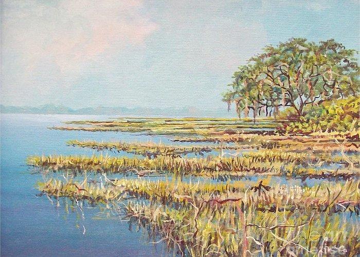 Marsh. Nature Greeting Card featuring the painting Marshland by Sinisa Saratlic