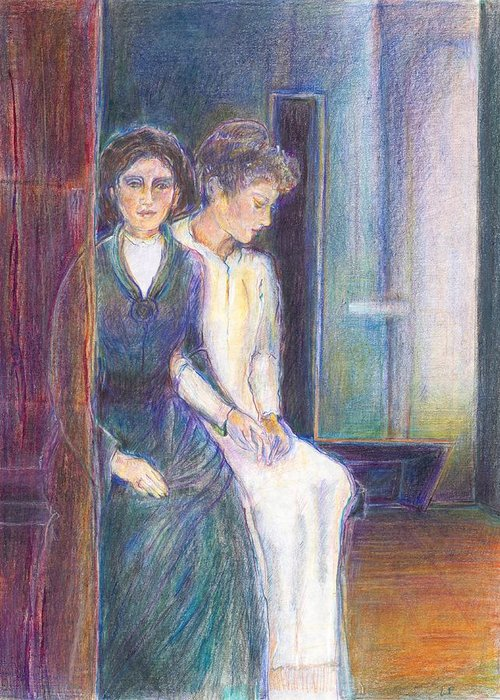 Illustration; Bible Story; Contemplation; Spiritual; Ladies; Symbolic Drawing; Jewish Art; Greeting Card featuring the painting Martha And Mary by Laurie Parker