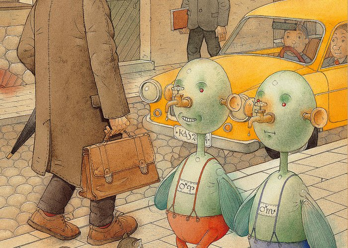 Martians Ufo Cat Street Fantastic Greeting Card featuring the painting Martians by Kestutis Kasparavicius