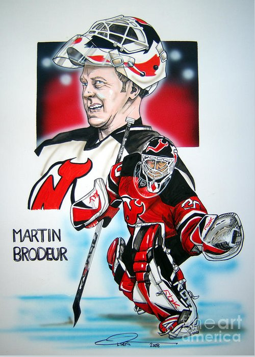 Nhl Greeting Card featuring the painting Martin Brodeur by Dave Olsen