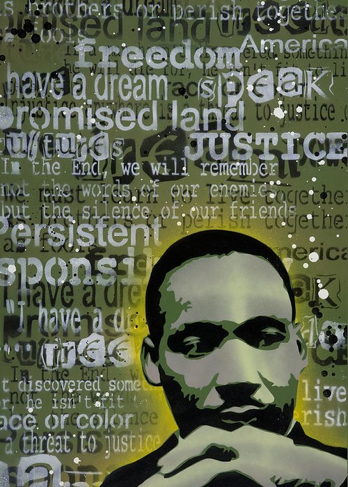 Pop Greeting Card featuring the painting Martin Luther King by Tai Taeoalii