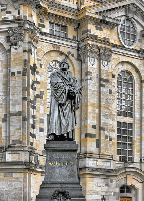 Martin Luther Greeting Card featuring the photograph Martin Luther Monument Dresden by Christine Till