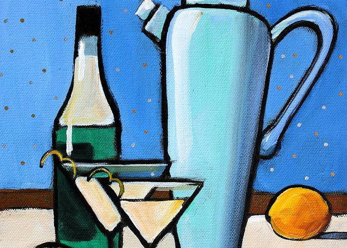 Martini Greeting Card featuring the painting Martini Night by Toni Grote