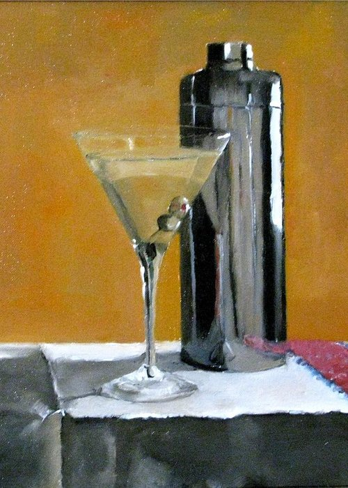 Still Life Greeting Card featuring the painting Martini3 by Udi Peled