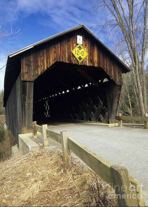 Bridge Greeting Card featuring the photograph Martinsville Covered Bridge- Hartland Vermont Usa by Erin Paul Donovan