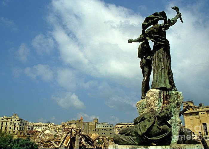 Debris Greeting Card featuring the photograph Martyr's Statues In Beirut by Sami Sarkis
