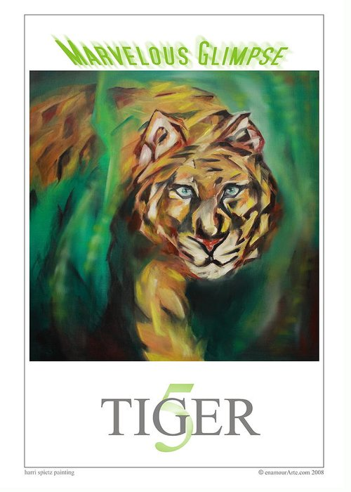 Tiger Greeting Card featuring the painting Marvelous Glimpse by Harri Spietz