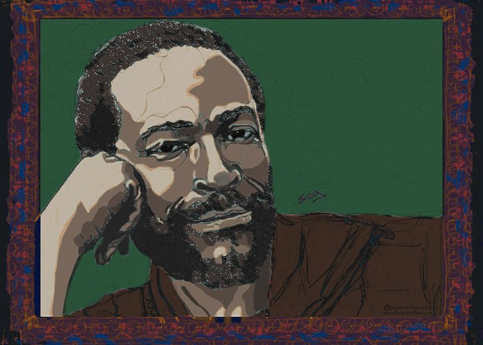 Marvin Gaye Greeting Card featuring the painting Marvin Gaye by Suzanne Gee