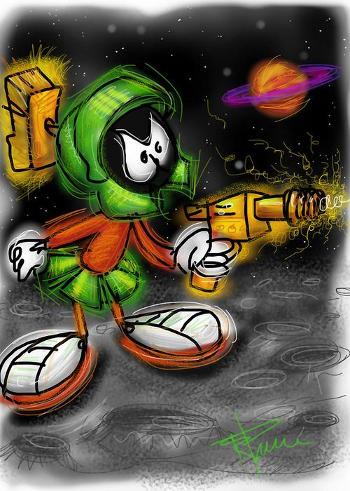Marvin Greeting Card featuring the digital art Marvin The Martian by Russell Pierce