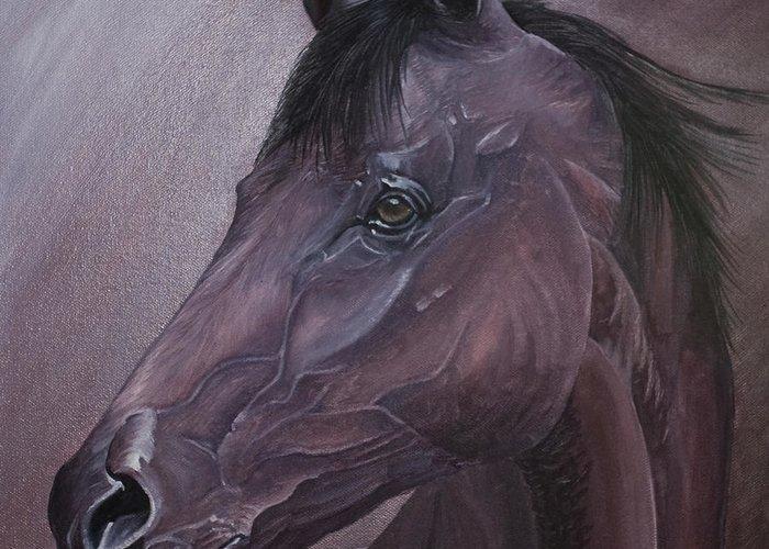 Horse Marwari Equine Purple Greeting Card featuring the painting Marwari Purple by Pauline Sharp