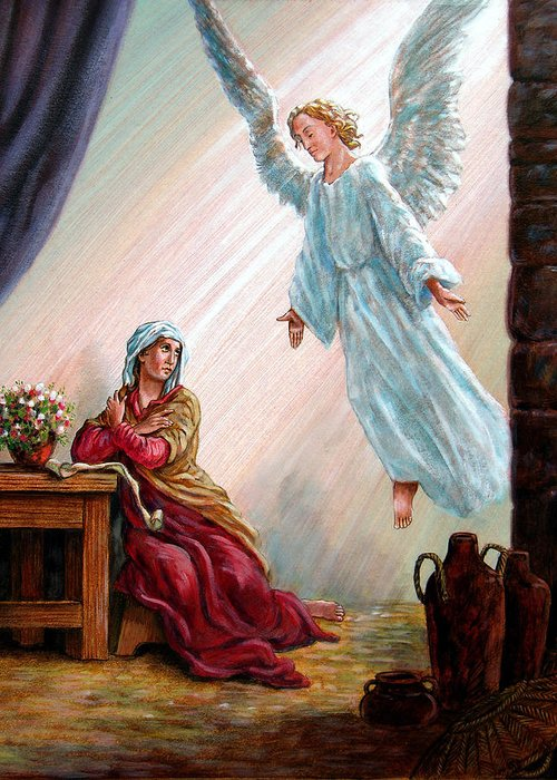 Angel Greeting Card featuring the painting Mary and Angel by John Lautermilch