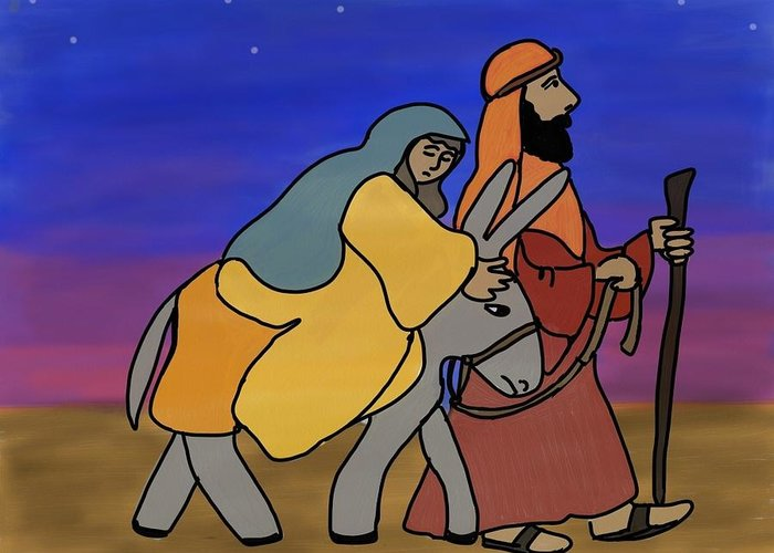Christmas Greeting Card featuring the digital art Mary And Joseph by Connie Kottmann