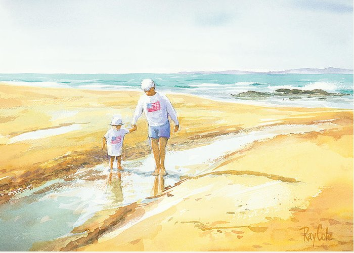 Grandma And Grandaughter Walking Greeting Card featuring the painting Mary And Sophia by Ray Cole
