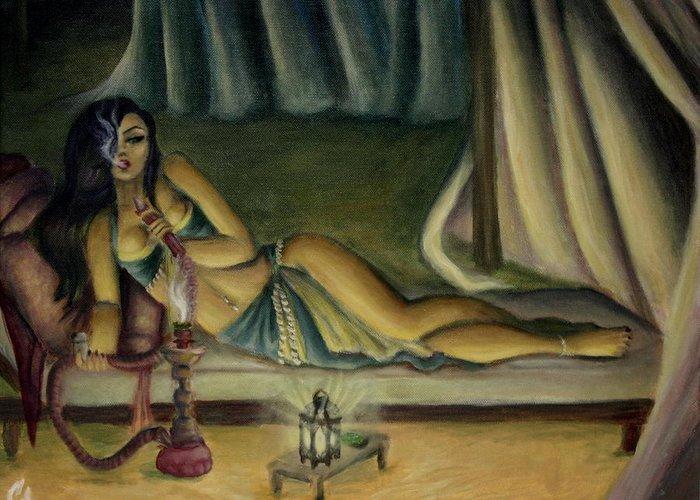 Marijuana Greeting Card featuring the painting Mary Jane Addington by C S