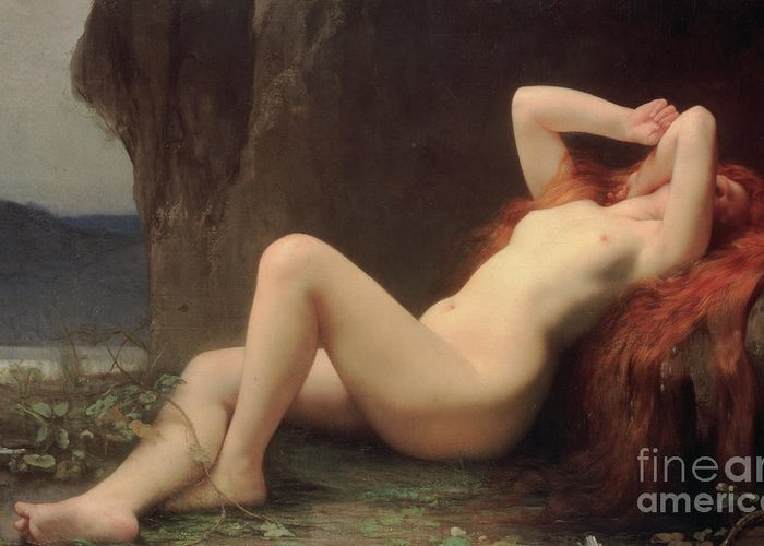 Nude Greeting Card featuring the painting Mary Magdalene In The Cave by Jules Joseph Lefebvre