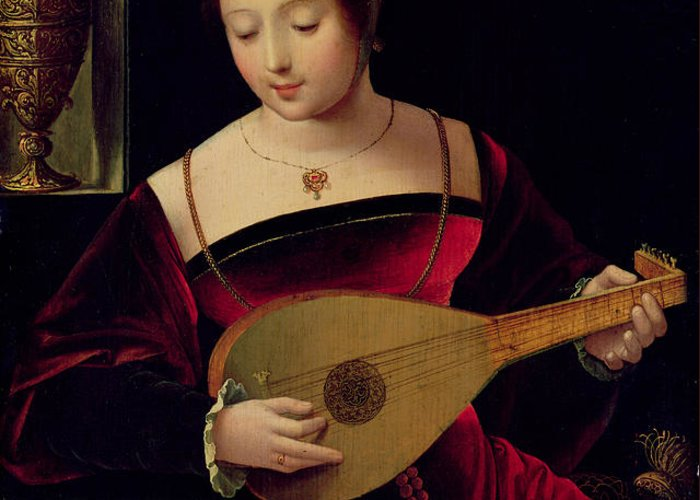 Mary Greeting Card featuring the painting Mary Magdalene Playing The Lute by Master of the Female Half Lengths
