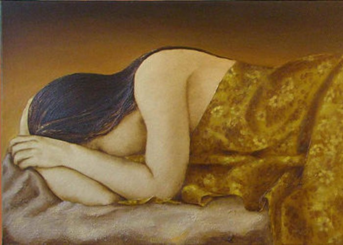 Mary Greeting Card featuring the painting Mary Magdalene-The Dream by Sobobak
