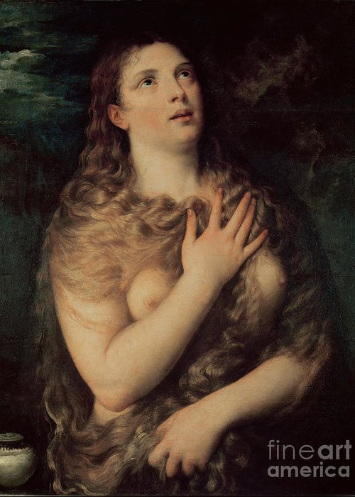 Mary Greeting Card featuring the painting Mary Magdalene by Titian