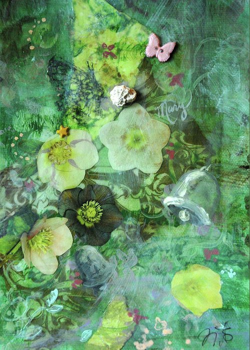 Garden Greeting Card featuring the mixed media Mary Mary by Jennifer Kelly