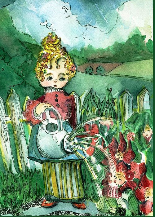 Nursery Rhyme Greeting Card featuring the painting Mary Mary Quite Contrary by Mindy Newman
