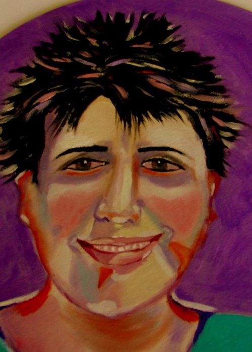Faces Greeting Card featuring the painting Maryline by Rusty Gladdish