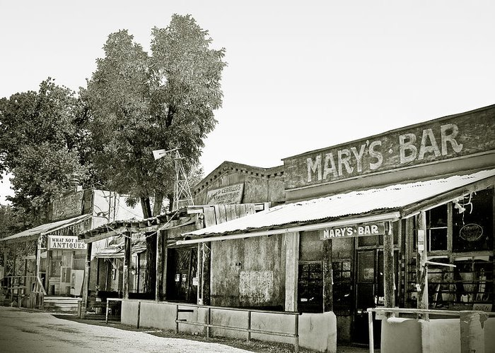 Black Greeting Card featuring the photograph Mary's Bar Cerrillo Nm by Christine Till