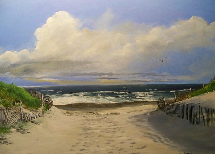 Beac Greeting Card featuring the painting Mary's Beach by Ken Ahlering