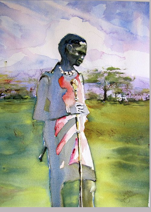 Watercolor Greeting Card featuring the painting Masaai Boy by Carole Johnson