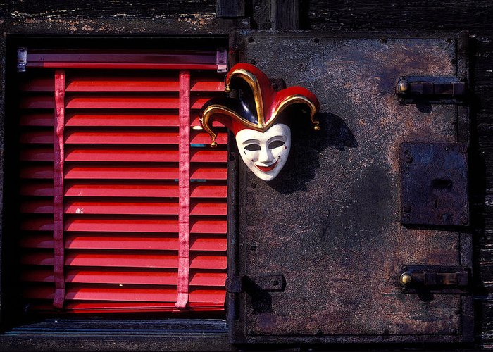 Mask Greeting Card featuring the photograph Mask By Window by Garry Gay