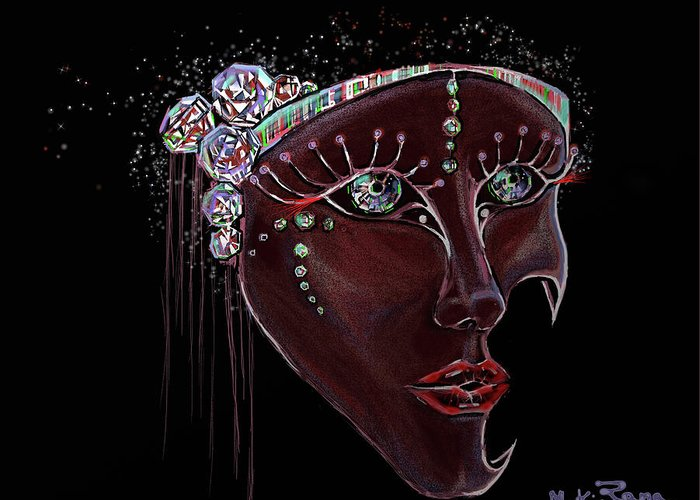 Mask Greeting Card featuring the digital art Mask Crystal by Rana King