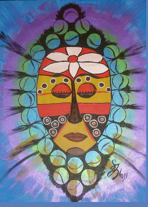 Mask Greeting Card featuring the painting Mask III by Sheila J Hall