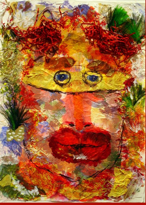 Mask Greeting Card featuring the mixed media Mask by Lessandra Grimley