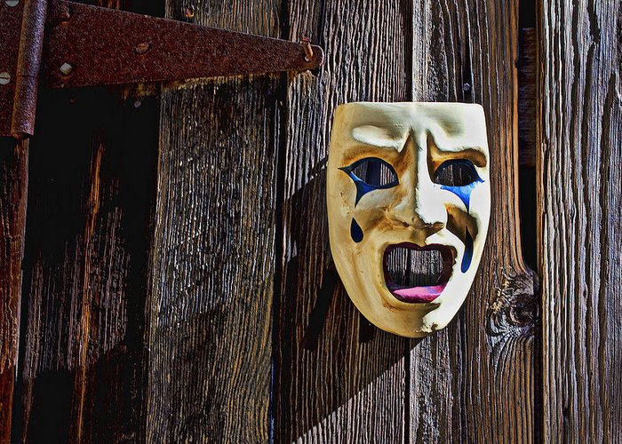 Mask Greeting Card featuring the photograph Mask On Barn Door by Garry Gay