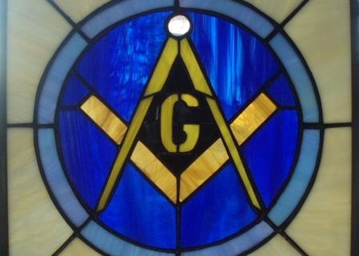 Stained Glass Greeting Card featuring the glass art Masonic Emblem by Liz Lowder