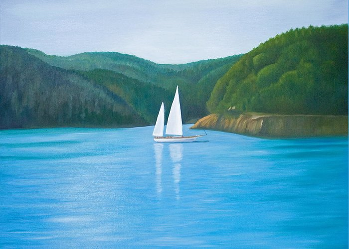 Seascape Greeting Card featuring the painting Mason's Sailboat by Stephen Degan