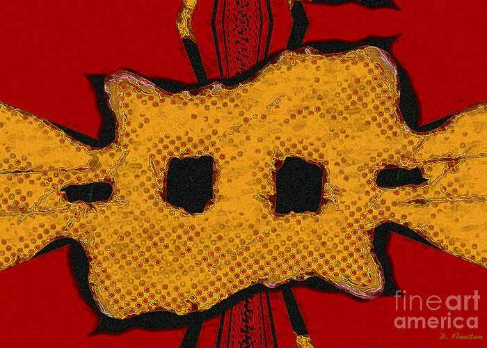 Orange Greeting Card featuring the digital art Masquerade 1 by Dee Flouton