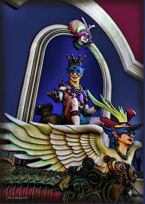 Costume Greeting Card featuring the digital art Masquerade by Joan Minchak