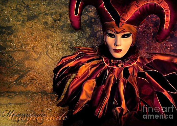 Mask Greeting Card featuring the photograph Masquerade by Jacky Gerritsen