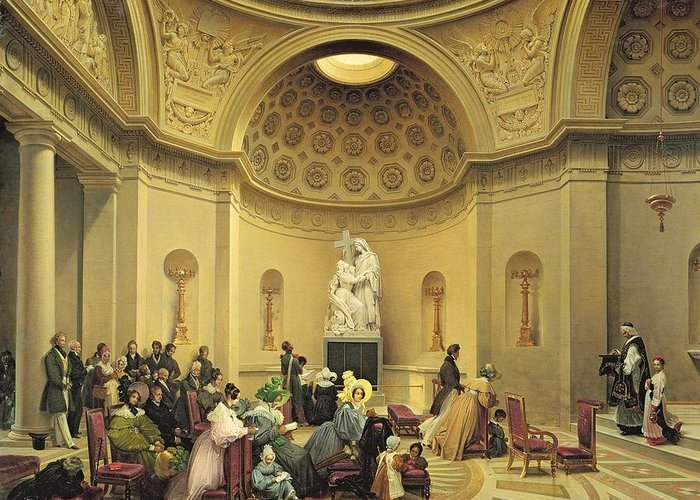 Mass Greeting Card featuring the painting Mass In The Expiatory Chapel by Lancelot Theodore Turpin de Crisse