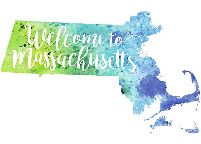 Massachusetts watercolor map welcome to massachusetts hand painting greeting card featuring the painting massachusetts watercolor map welcome to massachusetts hand lettering by m4hsunfo